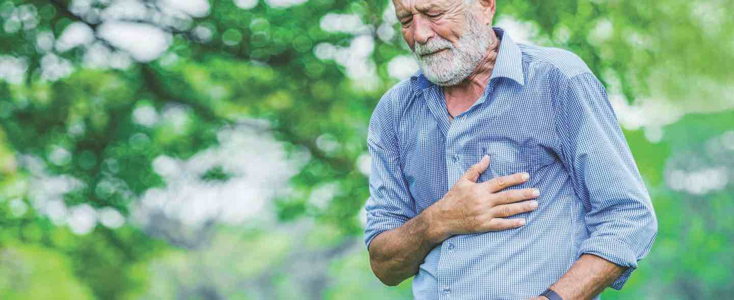 A senior citizen having heart ache