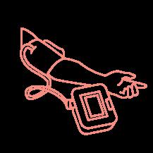 Arm with sphygmomanometer